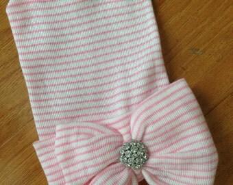 Pink Bow Hospital Beanie
