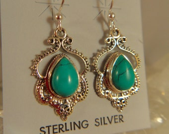 TURQUIOSE EARRINGS Stering Silver