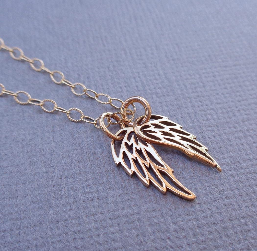 angel wing necklace gold angel wings angel necklace. Black Bedroom Furniture Sets. Home Design Ideas