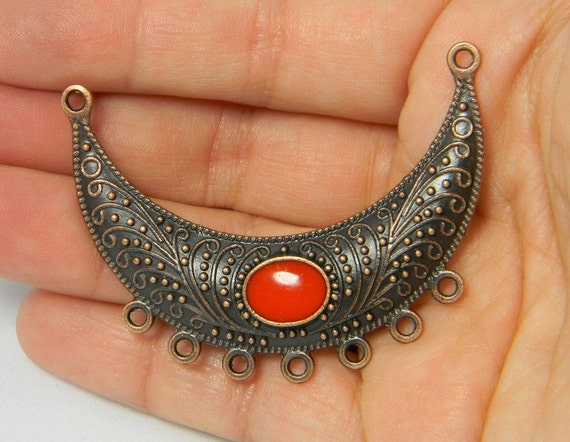 Red Copper Tone Alloy Enamel Moon Links Red Pendant Focal 7