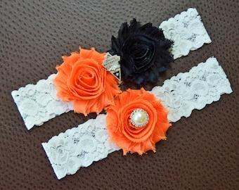 Denver Broncos Wedding Garter Set, Broncos Garter, Denver Broncos Bridal Garter Set, Football Wedding Garter, White Lace Wedding Garter