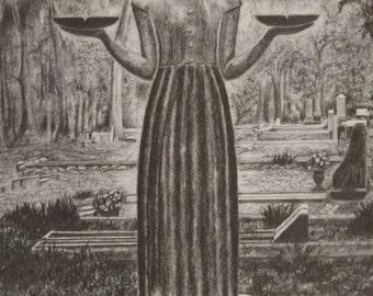 The Bird Girl, pencil drawing, statue in Bonaventure Cemetery,  Deep South, Savannah, Georgia