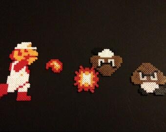 Perler Fire Mario with Goombas
