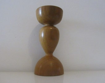 Mid century vintage wooden pillar candle holder - 1960s