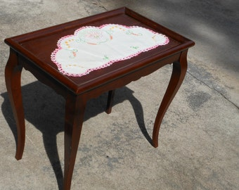 Shaby Chic Vintage Pie Crust Table Rectangle End Table