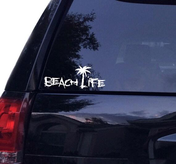 Beach Life Palm Tree Beach Vinyl Car Decal By Decaldelightz