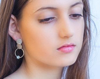 Aquamarine earrings - 925 sterling silver earrings - geometric earrings - dangle earrings - circle earrings - Aquamarine jewelry - SJ