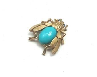 Vintage Trifari Brooch 50s Gold Turquoise Beetle Pin Brooch