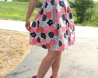 Floral Box-pleat High-waist Skirt