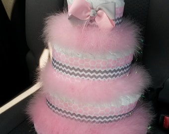 Pink and Gray Diaper Cake