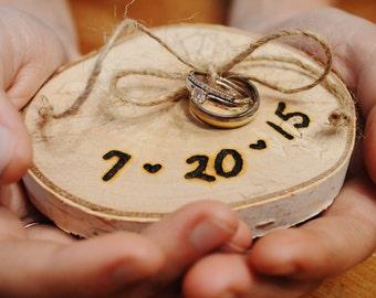 Wood Slice Wedding Ring Holder, Rustic Birch, Ring Bearer, Wedding