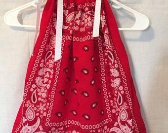 BANDANA DRESS, girls western dresses, summer dresses, children's clothing, pillowcase dresses, Girls western wear