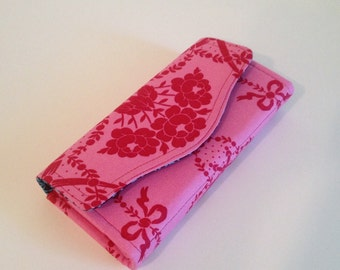 Nescessary Clutch Wallet - Gorgeous Jennifer Paganelli Beauty Queen fabrics - Valerie in pink - Linky love navy - ready to ship