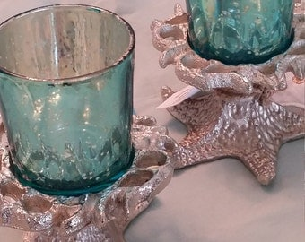 Silver Starfish Candle Holder with Blue Glass Votive