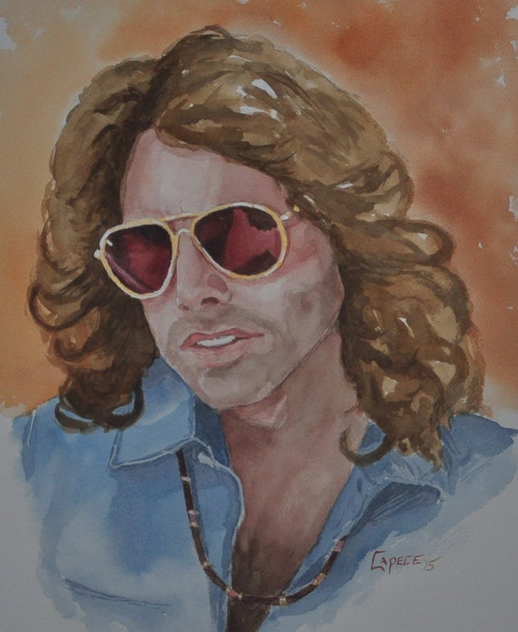 """Jim Morrison,Iconic Rock Musician,16"""" x 20"""" Watercolor Painting,ONE OF A KIND, Not a Print, Free Shipping Code SKYE2"""