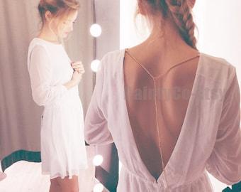 Gold or Silver Back Necklace back dro necklace backless dress low open back dress v back bridal backdrop wedding