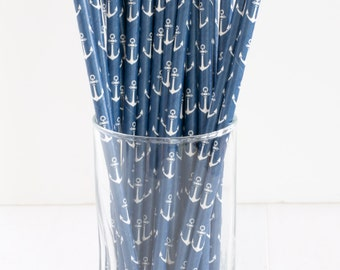 Navy Anchor Paper Straws- Set of 25 Anchor Straws- These navy straws are perfect for nautical parties & themes