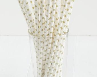 25 Gold Dot Paper Straws
