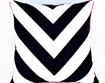 Black and White striped Pillow Cover with Pink Piping