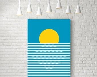 Sunrise, sun art, mid century print, minimalist wall art, retro print, nordic design, minimalist art, retro poster, sun print, abstract art