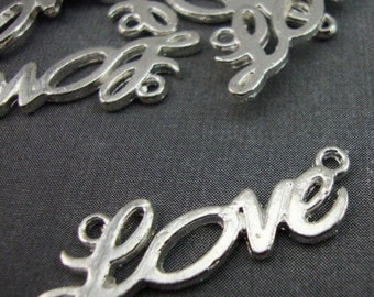 CH11 - 5 Silver Plated Love Letters Pendant Charms Kitsch