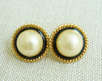 Large Ciner Mabe Pearl, Enamel & Gold Rope Clip On Earrings      *s