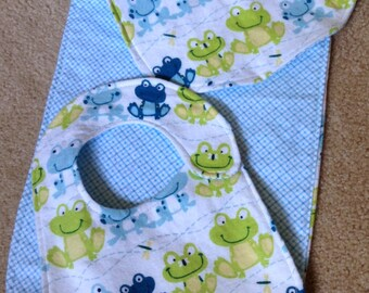 Green and Blue Frog Bib and Burp Cloth Set