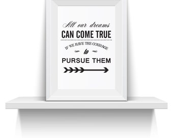 Disney Quote Wall Art All Our Dreams Can Come True Walt Disney Quote  Printable Wall Art  INSTANT DOWNLOAD Printable file quote