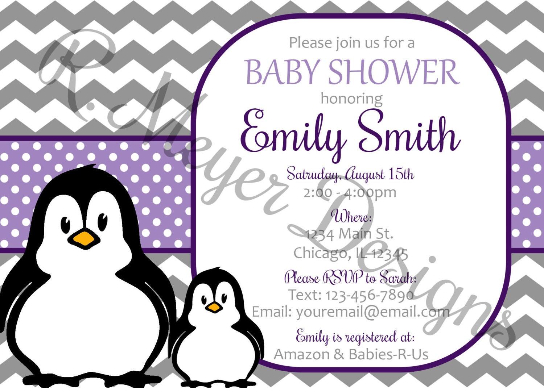 purple penguin baby shower invitation custom by rmeyerdesigns