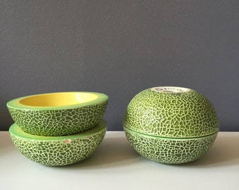 Four Mid Century Holt Howard Cantaloupe Melon Bowls 1961