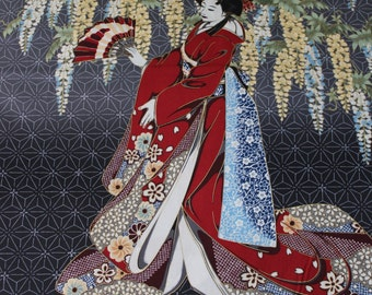 Kona Bay Geisha Dynasty Black cotton woven, 23x44 panel (2 side by side geishas)