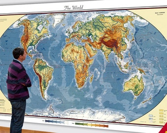 Big World Map.  Huge Map of the World.  6xft x 10ft map.  Large World Map Modern Details