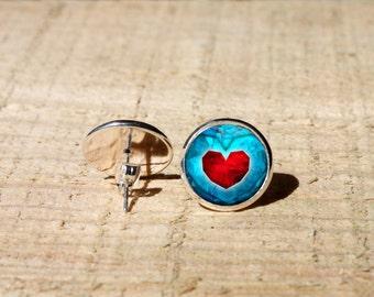 Zelda Blue heart Stud earrings, Legend of Zelda  Earrings, Hypoallergenic, nekel free