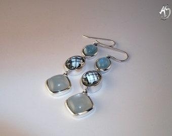 Silver earrings Prasiolite, aquamarine, Moonstone