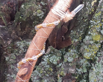 SALE - Birch Wand with Citrine and Quartz