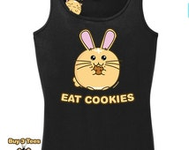 Kawaii Shirt Fuzzballs Eat Cookies Cute T Shirt Rabbit Tee Adorable Gift Idea Japanese Funny Mens Shirt Ladies Kids Babies Chibi Tee Bunny