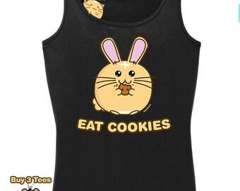 Kawaii Shirt Fuzzballs Eat Cookies Cute T Shirt Rabbit Tee Adorable Gift Idea Japanese Funny Mens Shirt Ladies Kids Babies Chibi Tee Bunny