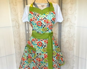 Women's Full Apron, Retro, Floral, Green, Coral, Ivory, Blue
