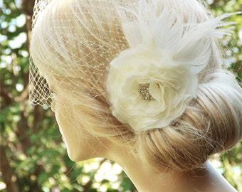 Bridal Birdcage Veil, Wedding Hairstyles, Bridal hair piece, Wedding Fascinator, Bridal Headpiece, Ivory fascinator, Bridal Hairstyles