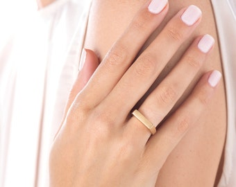 Thin Wedding Band, Unique Engagement Ring, Minimalist Gold Ring, Contemporary Ring, Gold Geometric Ring, Custom Signet Ring, Promise Ring