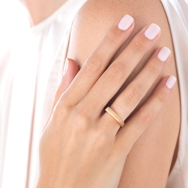 Thin Wedding Band Unique Engagement Ring Minimalist Gold