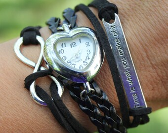 Multi-Layered Wrap Watch Bracelet