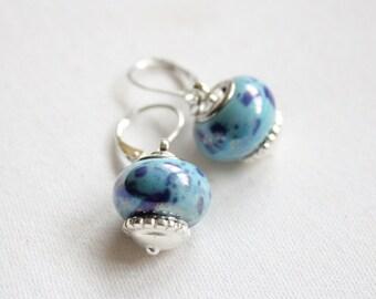 Blue Speckled Bead Drop Earrings