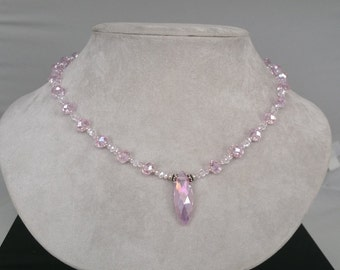 Handmade Pink Crystal Necklace