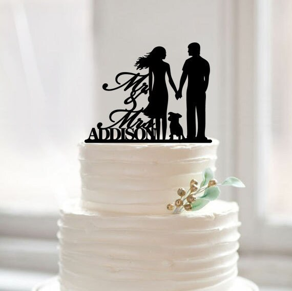 Wedding cake topper with dog, mr mrs last name cake topper,wedding cake topper silhouette,wedding cake topper with dog,rustic cake topper