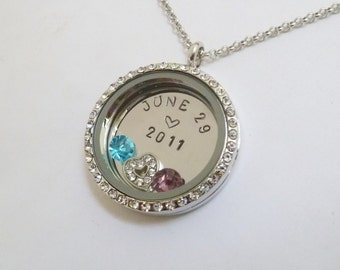 WEDDING DATE - Or other Special Date - Birthday Anniversary - Floating Charm Locket - Memory Locket - Custom Stamped Gift