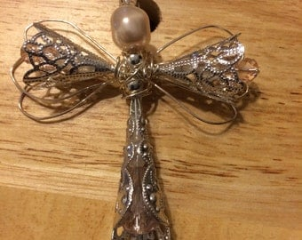 Angel Pendant, pale pink crystal and silver
