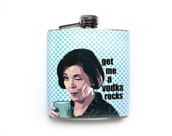 Lucille Bluth Winking Flask Arrested Development Inspired Get me a Vodka Rocks Funny Humor Stainless Steel Liquor Flask
