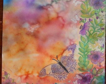 Butterflies and Flowers Watercolor painting 8 x 10