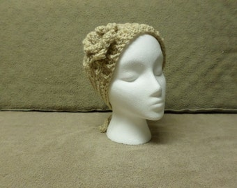 Beige Crocheted Headband with Flower
